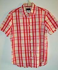 Vtg Versace Versus Mens Red Pink White Check Short Sleeve Shirt sz 38/52 Italy
