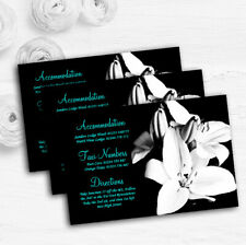 Stunning Lily Black White Turquoise Personalised Wedding Guest Information Cards