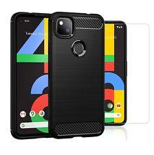 For Google Pixel 4a Case Carbon Fibre Cover & Glass Screen Protector