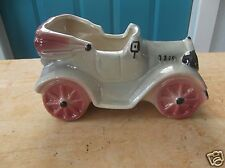 Vintage Art Pottery Old fashioned Car Shaped Planter