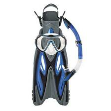 Mirage Diamond Adult Silicone Snorkel Dive Mask Flipper SET BLUE L/XL