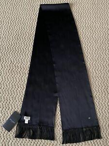 NWT Saint Laurent YSL Classic Black Silk Satin Tasseled Long Smoking Scarf $595