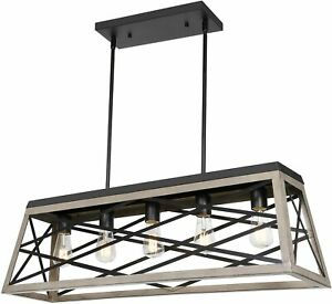 5-Light Kitchen Island Pendant Lighting, 35 inch Linear Chandelier Black & Wood