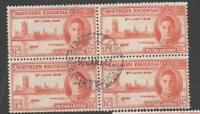 Northern Rhodesia 1946 victory perf 13.5 variety SG46a fine used  block 4 stamps
