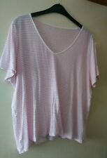 Ladies pink striped t-shirt from Marks & Spencer, size 22