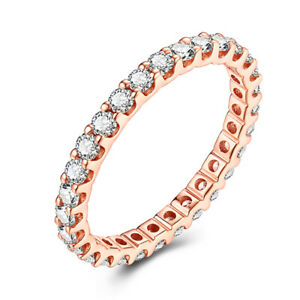 Round 1.2ct Moissanite Halo Jewelry Anniversary Bands Solid 18K Rose Gold Ring