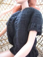 "Hand Knit Black Short Sleeve Sweater Doll Clothes fits 16"" fashion as Tyler"