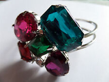 BLING MULTI COLOUR FACETED STONE CLUSTER BANGLE new
