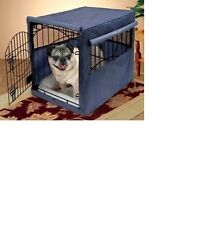 Dog Crate Cover Large 42 x 28 x 31 Blue  Roll Up Windows And Door