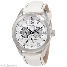 Nautica Men's N14622G Classic Coin NCS 650 White Leather Band Watch