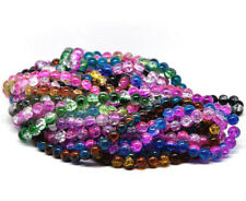 80 x Two Tone Glass Crackle Glass Beads  10mm -  Choose Colour   -   UK Seller