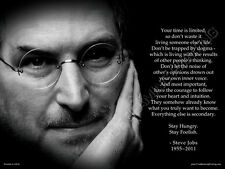 "(Qty.2)-18""x24"" STEVE JOBS ""Your time is limited"" Premium Poster, Aqueous Coated"