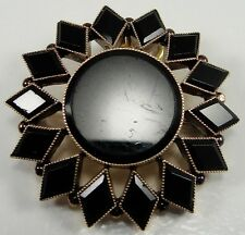Antique Victorian 10K Rose Gold Mourning Brooch Pin Pendant 1850s Flower Design