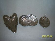 3 Silvertoned Metal, Tozai Home- Paris New York, Leaf Shaped Nut Dishes