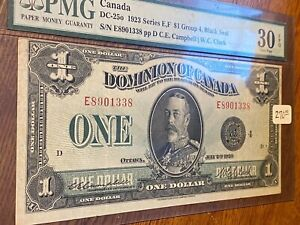 1923 DOMINION OF CANADA 1923 SERIES E,F GROUP 4 BLACK SEAL..PMG30..EPQ..