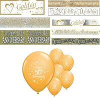 50th GOLDEN WEDDING ANNIVERSARY BANNERS 8 DESIGNS PARTY DECORATIONS