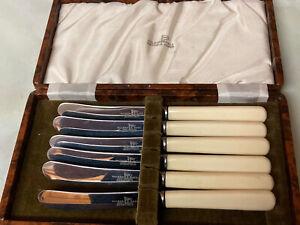 Set of 6 Vintage Walker & Hall Faux Bone Handle Tea/Butter Knives