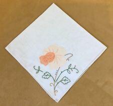 Vintage Ladies Hanky Or Thin Napkin, Appliqué Flower, Leaves, White, Peach