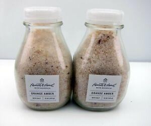NEW Lot of 2 Hearth & Hand With Magnolia Orange Amber Bath Salt 16 oz Ea Salts