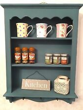 Shabby Chic Wooden Wall Unit Vintage Cabinet Shelf Kitchen Cupboard Hooks