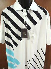 Greg Norman Golf Shirt (XL), White, Angled Stripes & Rapi-Vent Tech, NWT $60.