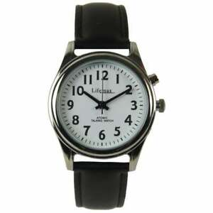Lifemax Ladies Radio Controlled Talking Watch with Leather Strap, Black