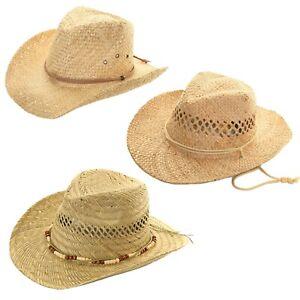 Straw Cowboy Hat Summer Sun Fedora Mens Womens Ladies Panama Natural Hats 59 60