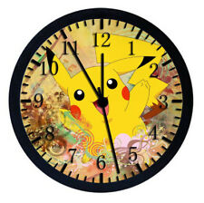 Pokemon Pikachu Black Frame Wall Clock Nice For Gifts or Decor W24