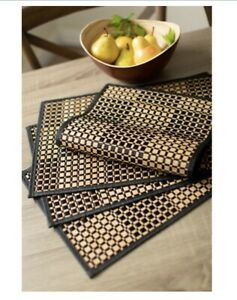 Black/Brown Checkered Bamboo Placemat Set Dining Table Placemats Free Shipping