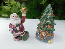 Fitz & Floyd Christmas Santa Trimming Christmas Tree Salt & Pepper Shakers 1994