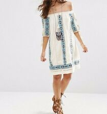 BRANDED PREMIUM Off Shoulder Casual Swing Dress With Aztec Embroidery  UK 14