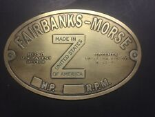 "New Fairbanks Morse Hopper Cool ""Z"" brass data tag Antique Gas Engine Hit Miss"