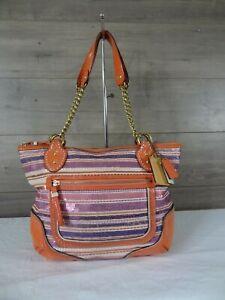 Coach 23843 Poppy Chain Multicolor Sequin Fabric Leather Tote Handbag Purse