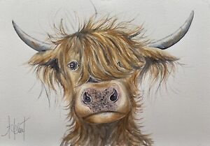 A3 HIGHLAND COW ORIGINAL(Not a Print) LARGER SIZE Watercolour Painting
