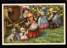 More details for a. bertiglia young dutch women picking grapes small white dog pc e20c - ab21