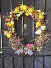 POST XMAS REDUCTION Vintage   European Wreath with Pinecone & Fruit Decoration