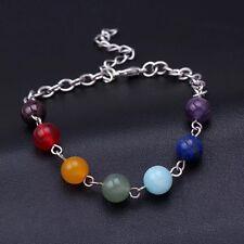 7 Chakra Crystal Quartz Stone Beads Reiki Balance Yoga Bracelet Energy B5