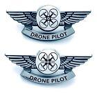 Drone Pilot Pins Silver Plastic Bubble Dome Badges 2 Wings