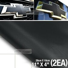 Black Carbon Fiber Vinyl Around Bowtie Emblems Decal Sheets 2pcs For CHEVROLET