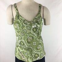 Ann Taylor women's top size 4 green paisley silk pattern Spaghetti strap
