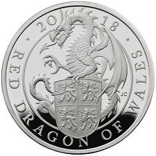 1 ounce silver proof Queens Beasts Red Dragon of Wales 2 £ UK 2017 Argent Dragon