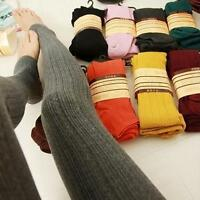 Womens Solid Fleece Lined Thermal Knit Winter Warm Thick Stretchy Leggings Pants