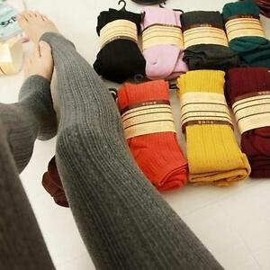 Womens Ladies Warm Thick Chunky Cable Ribbed Knitted Leggings Skinny Wool Pants