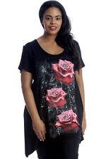Nouvelle Mesdame Grand Taille Top A-Line Femme Motif De Trois Roses Haut Floral