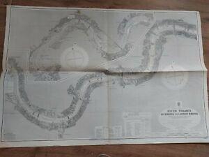 Vintage Admiralty Chart 3319 UK RIVER THAMES Richmond to London bridge