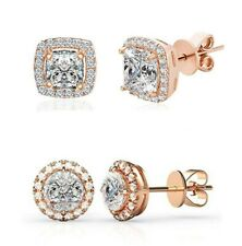 3 Pack Set Stud Earrings in 18K Rose Gold Plated with Swarovski Crystals ITALY
