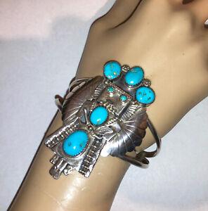 Nice Old Vintage Navajo Or Zuni Sterling Silver Kachina Doll Turquoise Bracelet