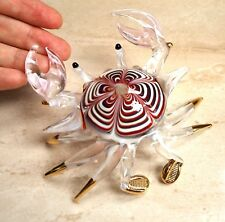 Maroon CRAB figurine handmade blown ART GLASS 4 inches GIFT - CUTE