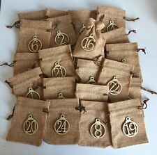Advent Calendar 24 Drawstring Natural Hessian Bags Christmas Wooden Numbers
