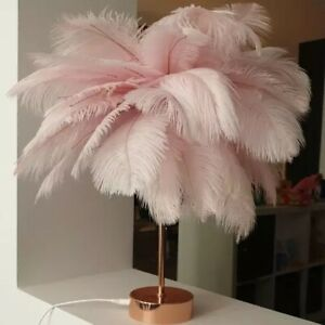 LED Ostrich Feather Light Table Lamp Copper Stand Home Decor with Remote Control